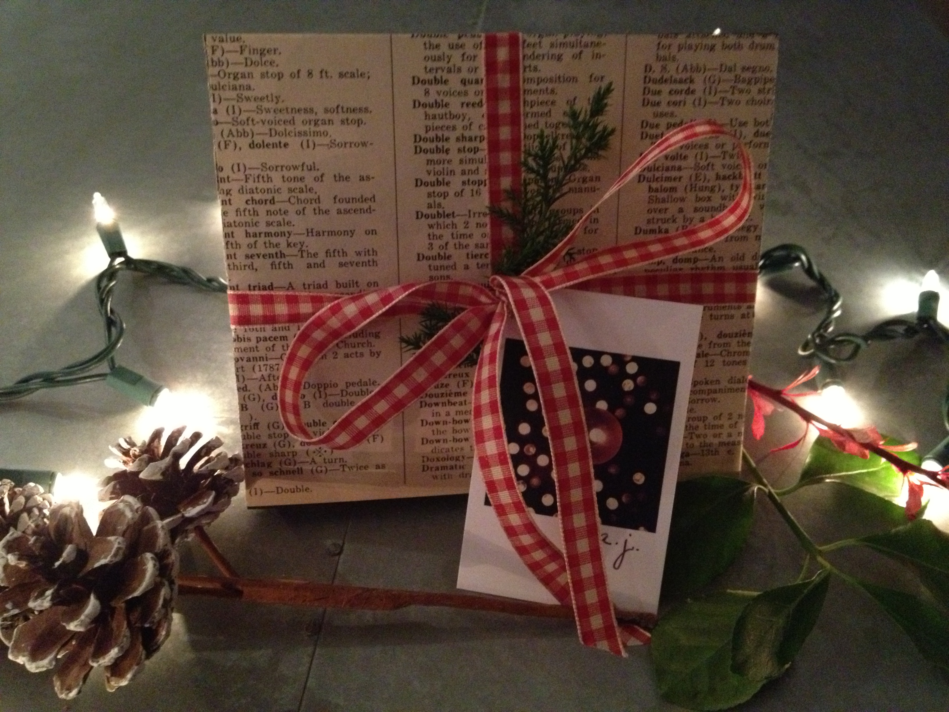 Gift Wrapped with Vintage Music Dictionary Pages
