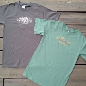 Angela Josephine Logo T-Shirts in Pine and Bark