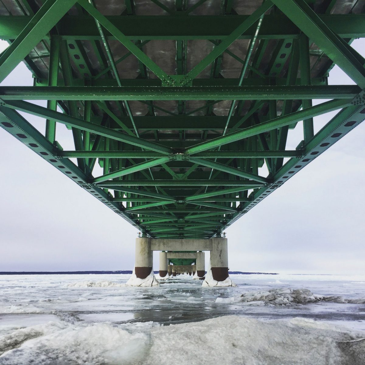 Mackinac Bridge in February for The Lady of the Lake is a story about being a michigander